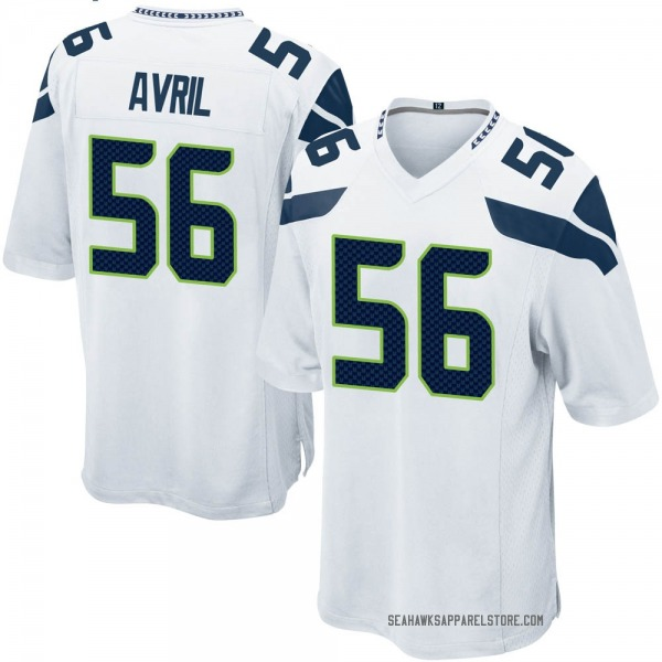 Men's Cliff Avril Seattle Seahawks Game White Jersey